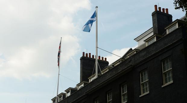 The Saltire flag is flown over 10 Downing Street