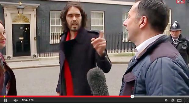 Video grab of Russell Brand confronting Channel 4 News reporter Paraic O'Brien