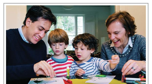 The Miliband family making Christmas cards at their home
