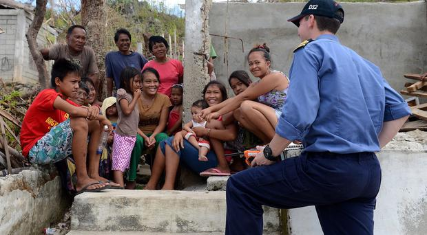 The Royal Navy helped victims of Typhoon Haiyan in the Philippines last year but another typhoon is on the way (Ministry of Defence/PA)