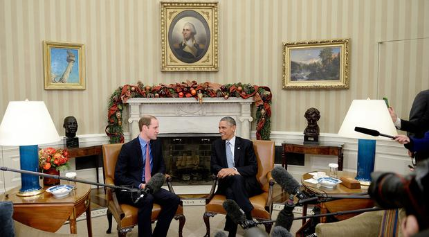 The Duke of Cambridge (left) meets US President Barack Obama in the Oval Office of the White House.