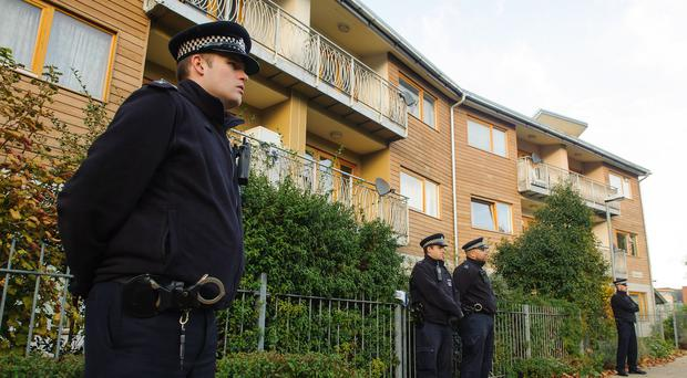Police outside a property in south London where Aravindan Balakrishnan was alleged to have kept three women as slaves in a Maoist cult