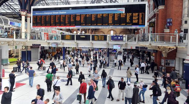 The train derailed outside London's Liverpool Street Station
