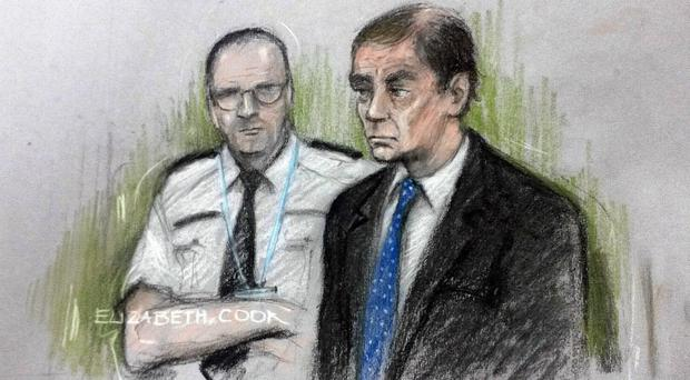 Sketch of Simon Harris appearing at Birmingham Crown Court (Elizabeth Cook/PA)