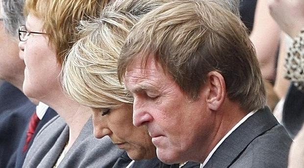 Former Liverpool manager Kenny Dalglish during the memorial service at Anfield Stadium, marking the 20th anniversary of the Hillsborough disaster