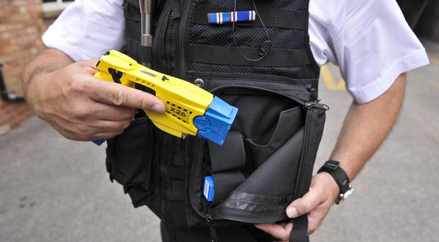 A burglary suspect has died after being shot with a police Taser in Newcastle-under-Lyme