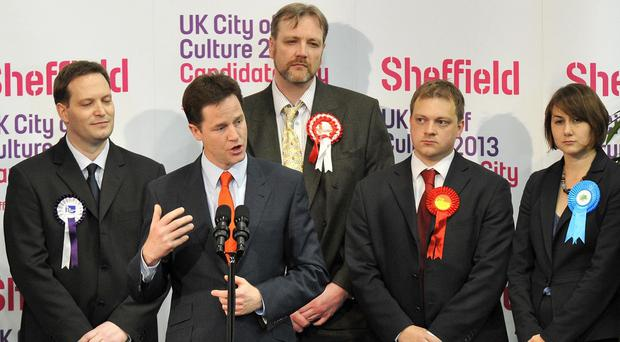 Nick Clegg delivering a speech after he retained his Sheffield Hallam seat in 2010