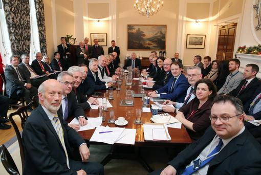The parties and officials around the negotiating table as the Stormont talks reached a conclusion earlier this month