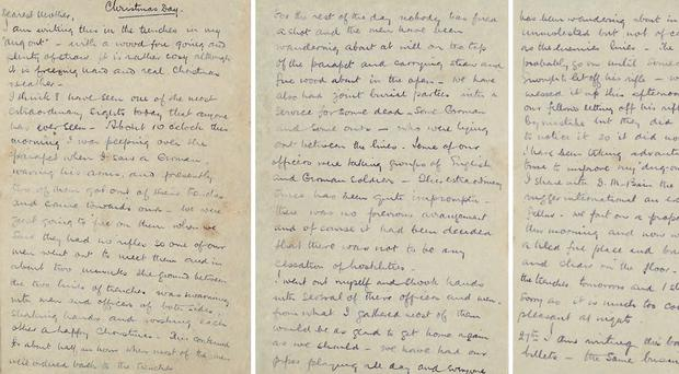 Pages of a letter, written by Captain AD Chater, describing the historic truce that took place on Christmas Day on the Western Front in 1914 (Royal Mail/Simon Chater/PA)