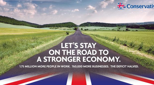 The Tories' first general election campaign poster is being launched by David Cameron (Conservative Party/PA)