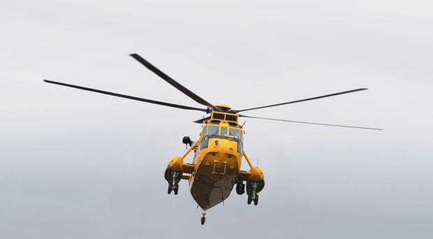 An RAF helicopter joined the rescue bid for a cargo vessel crew