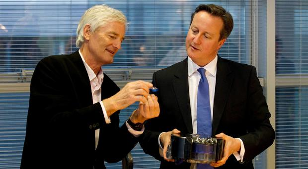Prime Minister David Cameron with Sir James Dyson at the Dyson Vacuum Factory in Malmesbury during a visit in November last year.