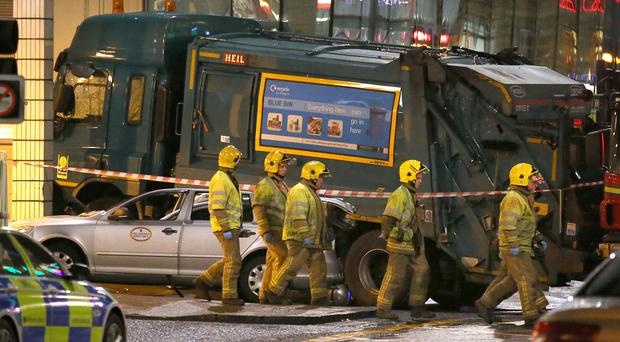 The scene in Glasgow's George Square after a bin lorry crashed into a group of pedestrians