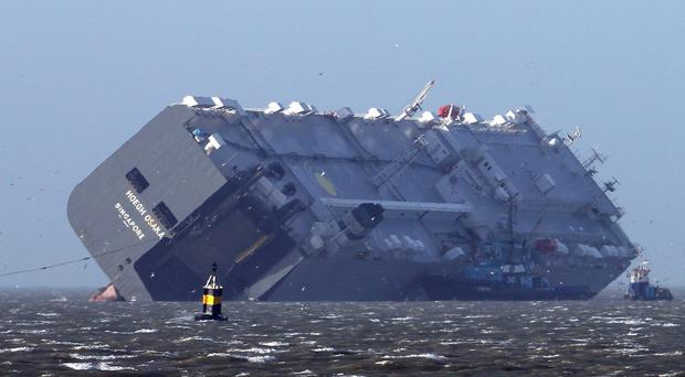 Salvors will pump water from the Hoegh Osaka