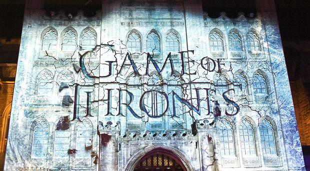A projection on to London's Guildhall for Sky Atlantic's premiere of the fourth season of Game Of Thrones. Series 5 will launch in the UK on April 13
