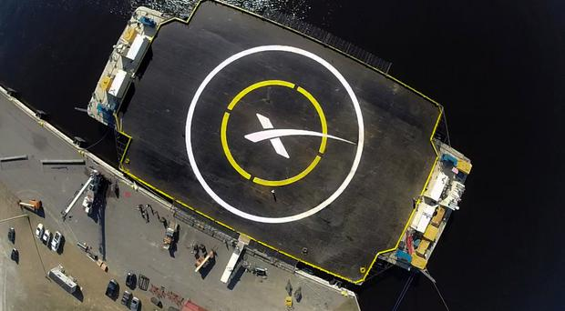 The spaceport drone ship, a landing platform which a SpaceX Falcon 9 rocket will try to land on (SpaceX/PA)