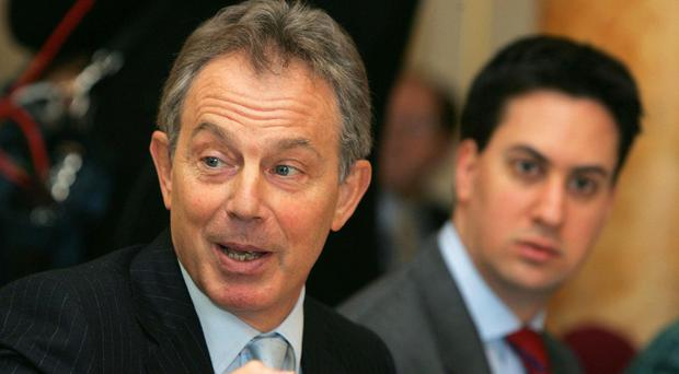 Tony Blair (left) said the voters would decide on Ed Miliband's leadership qualities