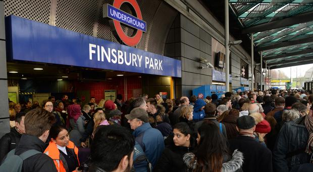 Travellers locked out of Finsbury Park station, London, when the overrunning Network Rail engineering works caused chaos