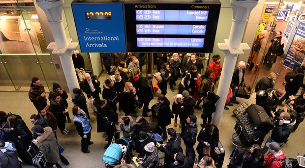Travellers at St Pancras Station, London, faced hours of misery after all Eurostar trains were cancelled