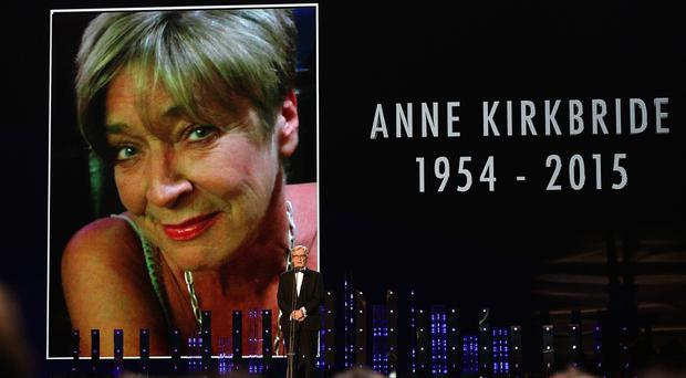 Bill Roache pays tribute to Anne Kirkbride on stage during the 2015 National Television Awards