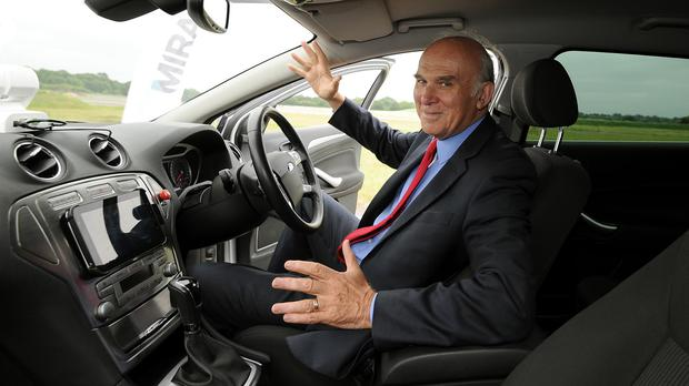 Business Secretary Vince Cable is to see some of the driverless vehicles which will be used in British trials