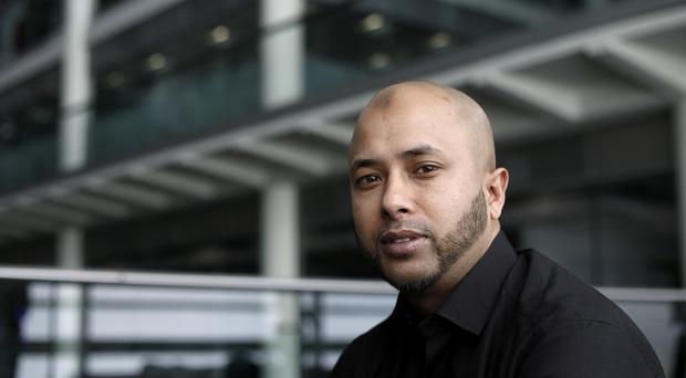 Afsar Ali, the father of Ayesha Ali, talks to the media in London as her mother Polly Chowdhury has been found guilty at the Old Bailey of the manslaughter of the eight-year-old