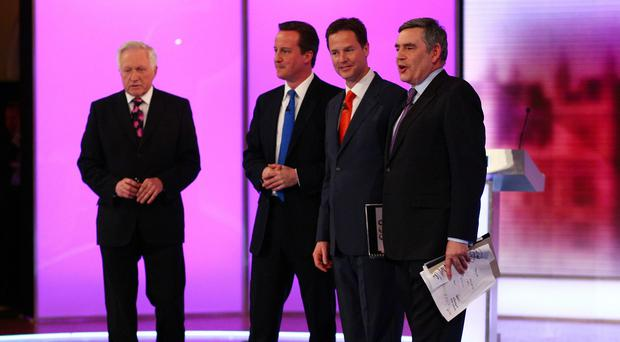 David Dimblebly with David Cameron, Nick Clegg and Gordon Brown after the final 2010 election debate