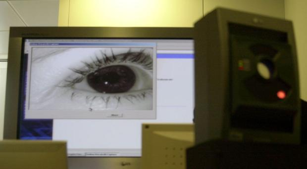 Biometrics include technologies that use iris patterns, retinas, face or hand geometry to identify people