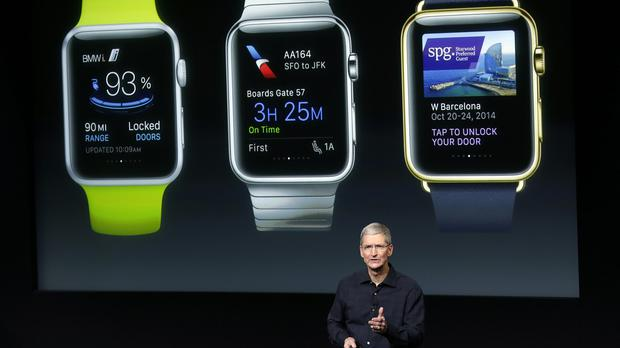Apple CEO Tim Cook first unveiled the Apple Watch during a launch event in October (AP)