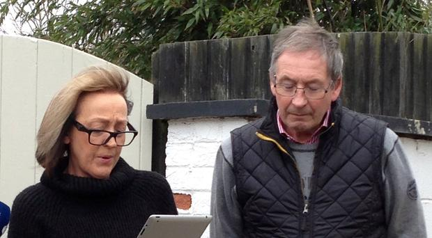 Breeders Dee Milligan-Bott and Jeremy Bott speaking outside their home after the suspected poisoning of Crufts show dog the Irish Setter Thendara Satisfaction, known as Jagger