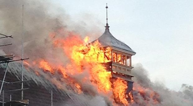 Photo taken with permission from the Twitter feed of @misterspidergod of the fire at Battersea Arts Centre in London