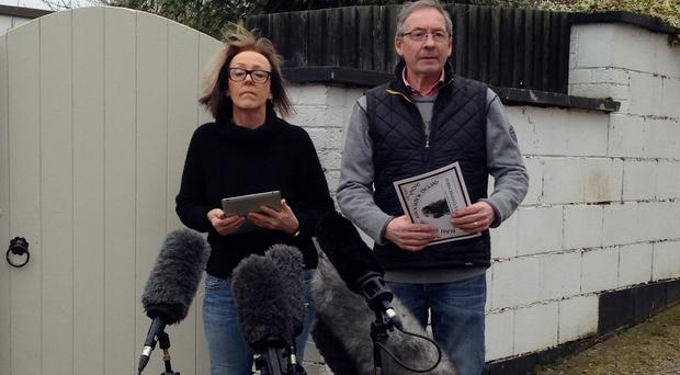 Breeders Dee Milligan-Bott and Jeremy Bott speaking outside their home after the suspected poisoning of Jagger