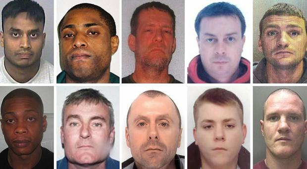 (top row, left to right) Mohammed Jahangir Alam, Paul Buchanan, Carlo Dawson, Anthony Dennis and Scott Hughes, (bottom row, left to right) Jayson McDonald, Paul Monk, David McDermott, Michael Roden and Shane Walford, ten of Britain's most wanted fugitives who are believed to be on the run in Spain.