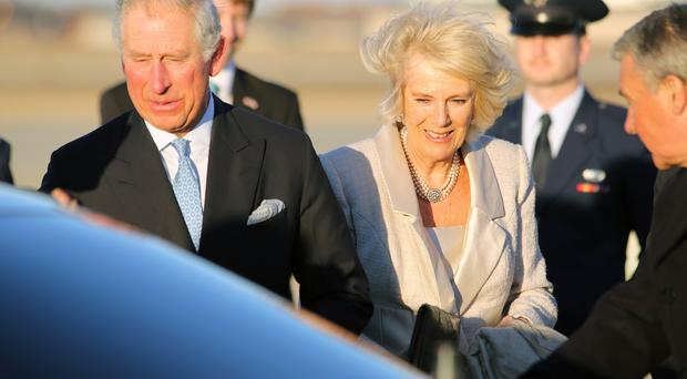 The Prince of Wales and The Duchess of Cornwall arrive at Andrews Air Force Base in Washington DC for the start of a four day visit to the US
