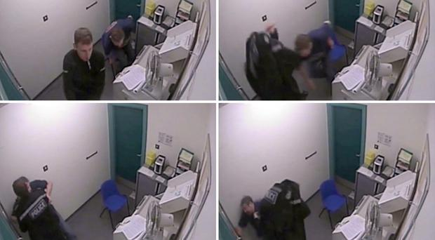 CCTV stills issued by Sussex Police of drink-driver Robert Hutchinson, who was so intoxicated he was unable to stand up at a police custody centre after being arrested