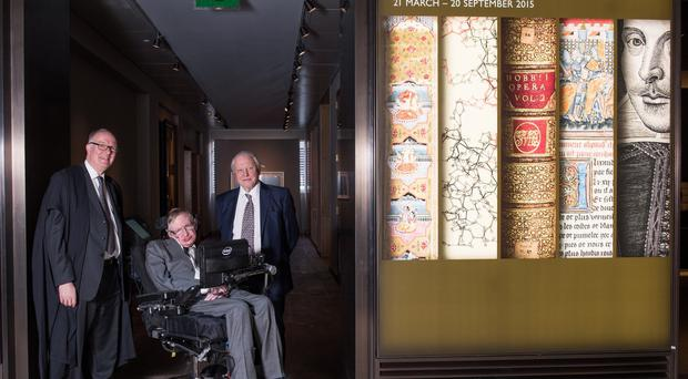 Professor Stephen Hawking and Sir David Attenborough (right) launched the exhibition