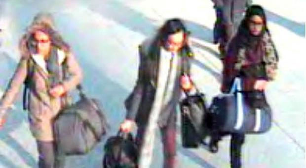Handout still taken from CCTV issued by the Metropolitan Police of (left to right) 15-year-old Amira Abase, Kadiza Sultana,16, and Shamima Begum,15, at Gatwick Airport, before they caught a flight to Turkey.