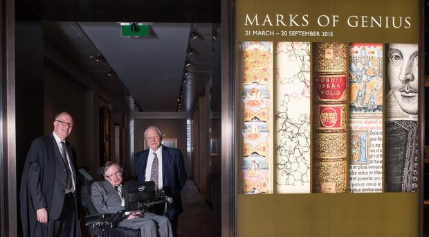 Bodleian Libraries handout photo of (left-right) Bodley's Librarian Richard Ovenden, Professor Stephen Hawking and Sir David Attenborough at the Marks of Genius exhibition at the newly renovated Weston Library.