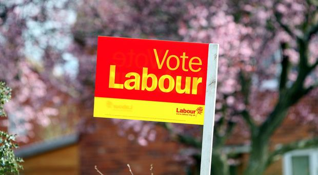 A Vote Labour sign in Reading, Berkshire, during the 2010 General Election campaign.