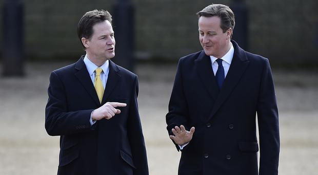 Deputy Prime Minister Nick Clegg (left) and Prime Minister David Cameron. A survey had revealed little enthusiasm for a second coalition government among voters
