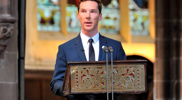 Benedict Cumberbatch at service for the reburial of Richard III in Leicester Cathedral yesterday