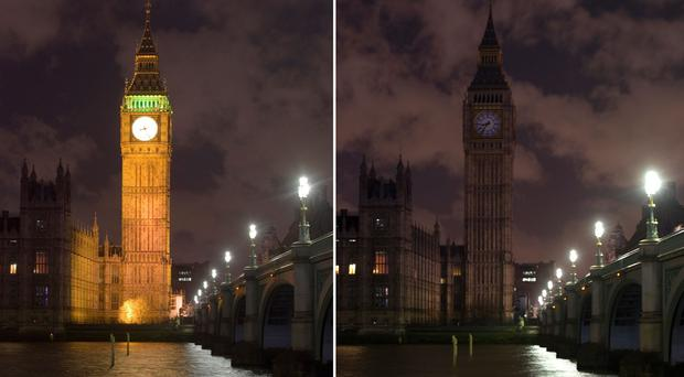 The Houses of Parliament went dark as the UK took part in Earth Hour