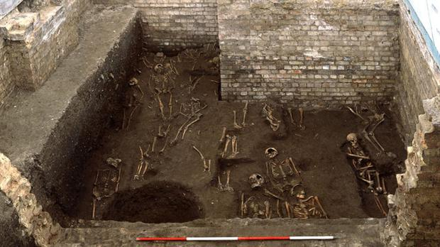 Part of one of Britain's largest medieval cemeteries containing the remains of more than 1,000 people (St John's College, University of Cambridge/PA Wire)