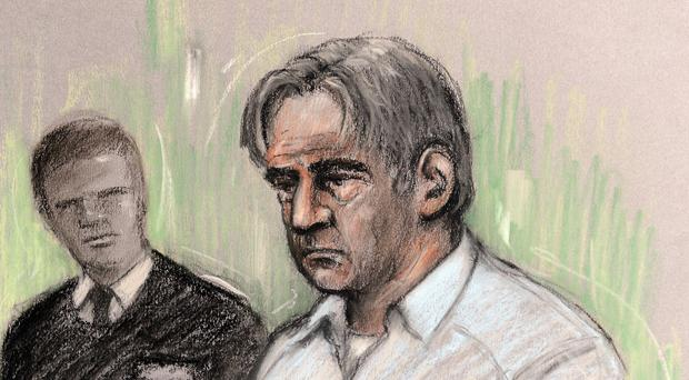 A sketch of Domenico Rancadore when he appeared in court