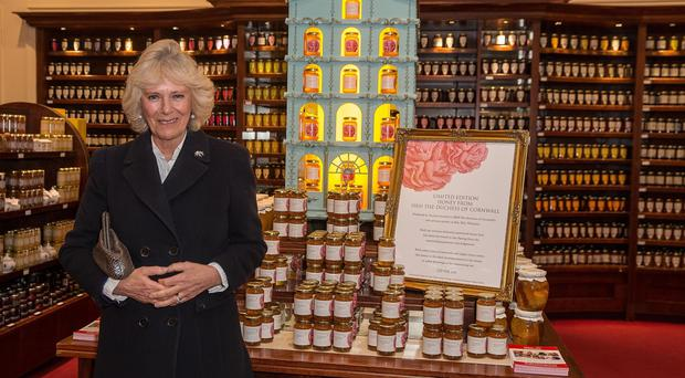 The Duchess of Cornwall at Fortnum & Mason in London at the launch of her limited batch of honey (Jeff Moore/Fortnum & Mason/PA)