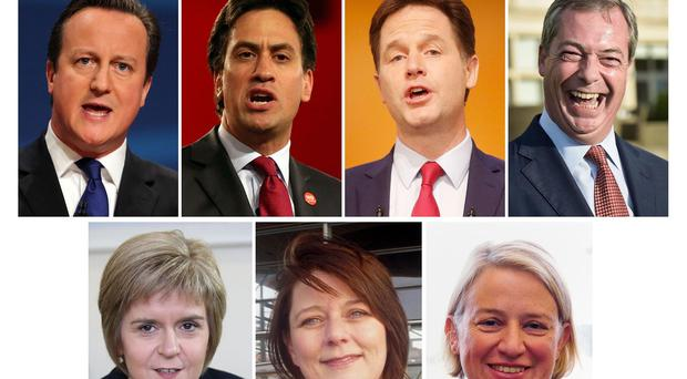 Top row, from the left, David Cameron, Ed Miliband, Nick Clegg and Nigel Farage, and bottom row, from the left, Nicola Sturgeon, Leanne Wood and Natalie Bennett