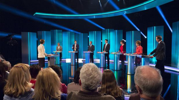 Host Julie Etchingham, Green Party leader Natalie Bennett, Liberal Democrat leader Nick Clegg, Ukip leader Nigel Farage, Labour leader Ed Miliband, Plaid Cymru leader Leanne Wood, First Minister Nicola Sturgeon and Prime Minister David Cameron during the televised debate (ITV/REX)