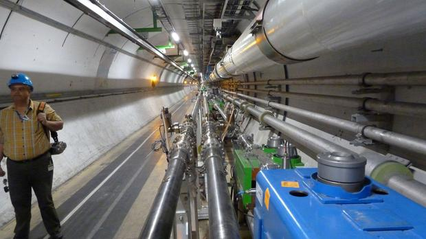 The beam tunnel at the Large Hadron Collider (LHC)