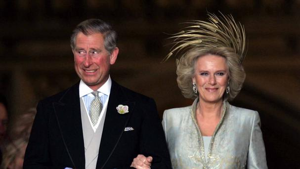 The Prince of Wales and his bride Camilla, Duchess of Cornwall leave St George's Chapel in Windsor, following the church blessing of their civil wedding ceremony