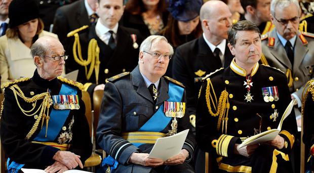 The Duke of Kent, (Left) with Duke of Gloucester and Vice Admiral Sir Timothy Laurence.